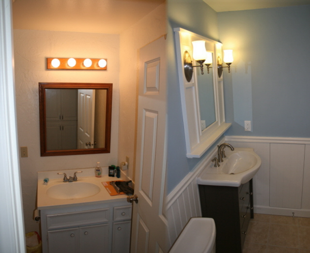 Before and after bath dinosaur woodworking - Before and after small bathroom remodels ...